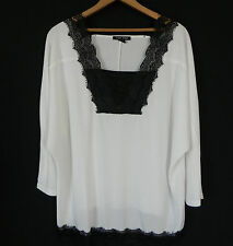 Timeless Naeem Khan Tunic Top Lace Trim White 3/4 Sleeve Wing Jersey Size XL