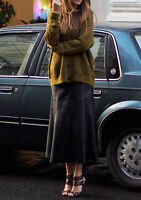 JUPE longue taille haute coupe évasée simili cuir noir ZARA Taille S