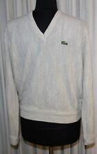 Izod Lacoste M Beige V-neck Sweater Alligator Roll Up Sleeves Mens Vtg Vintage