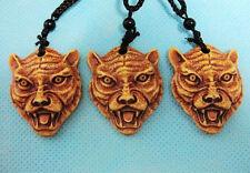 Wholesale 12 pcs Tribal style carving Tiger Head pendant necklace