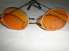 ROUND AMBER AND GOLD FRAME SUNGLASSES STEAMPUNK/GOTHIC/GOTH/VAMPIRE SPECS NEW