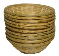 "10 x Round Bamboo Bread Fruit Wicker Gift Basket Hamper Display Tray - 9"""