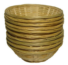 10 x Round Bamboo Bread Fruit Wicker Gift Basket Hamper Display Tray - 9""
