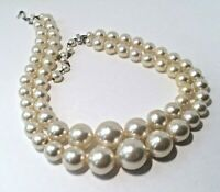 """VINTAGE Signed JAPAN 2 Tier WHITE BEAD NECKLACE Faux Pearl GRADUATED SIZE 16"""""""