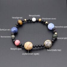 Bracelet Galaxy Solar System Of Nine Planets Theme Natural Stone Beaded Fashion