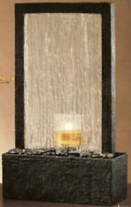 New PartyLite Cascading Water Fountain Glass Candle Holder Electric Pump P90159