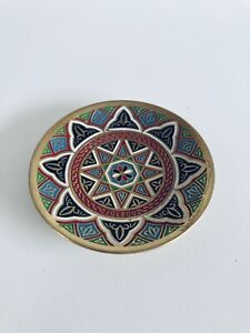 Hand Made Mini Brass  Plate with Pattered Image Gold Red Black