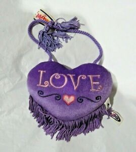 """Valentine's Day Purple Heart Embroidered """"Love"""" Plush 5"""" by Mary Meyer"""