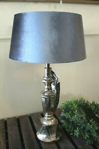 Modern Colmore Deco Table Lamp Silver With Lampshade Velvet Light Aluminium 54cm