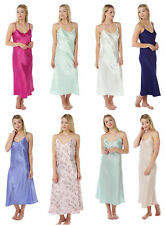 Ladies Womens Satin Chemise Full Ankle Length Silk Nightdress Nightie PLUS SIZE