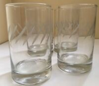 Set of Four 4 Vintage Etched Juice Glasses Cocktail Mid Century 1970s
