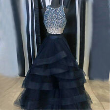 Two Pieces Navy Blue Party Dresses Beaded A Line Prom Formal Wedding Guest Gowns