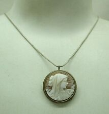 Vintage Lovely Silver Mounted Carved Cameo Brooch / Pendant And Chain
