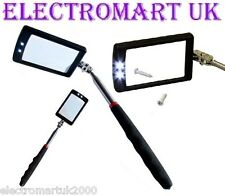 TELESCOPIC INSPECTION MIRROR LED LIGHT EXTENDS 29 - 87 CM CAR HOME