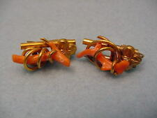 Vintage Victorian Gold Filled Coral Branch Earrings