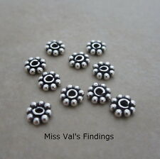 10 sterling silver 5.7mm Bali spacer beads beaded flower