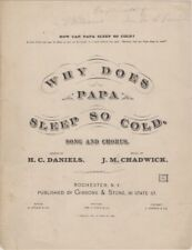 Why Does Papa Sleep So Cold song and chorus 1880  antique sheet music