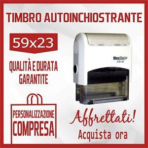 TIMBRO MACCHINETTA AUTOINCHIOSTRANTE + GOMMINA RESINA - 59x23 - PERSONALIZZATO