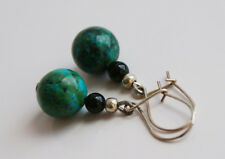 Handcrafted Silver Green Azurite Onyx Genuine Semi-precious Stone Earrings Gift