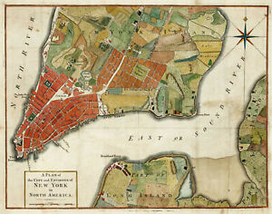 "1776 Plan of New York City and Environs Revolutionary War Map 11""x14"" Art Print"