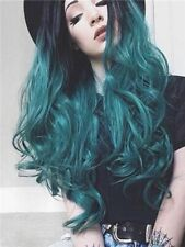 Woman Long Body Wave Synthetic Soft Hair Heat Resistant Fiber Ombre Green Wigs