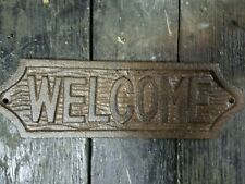 Cast Iron Antique Style Welcome Plaque Sign Wall Decor