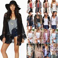 Boho Womens Beach Cover Up Loose Floral Kimono Cardigan Jacket  Plus Size