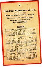 Carter, Webster & Co Hosiery Underewear Gloves Baltimore MD 1925 Calendar Card