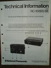 NATIONAL Panasonic RC-100BS Radiosveglia informazioni tecniche