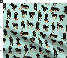 Black And Tan Coonhound Hound Dog Puppy Fabric Printed by Spoonflower Bty