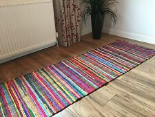 ❤️SHABBY CHIC RAG RUG RUNNER MULTI COLOUR FRINGED EDGES 50cm x 150cm FAIR TRADE