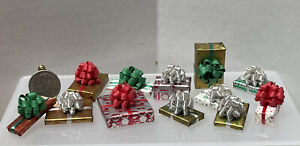 Vintage Artisan Wrapped Christmas Presents Gifts 12PC Dollhouse Miniature 1:12