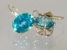 14k Gold Leverback Earrings, Paraiba Topaz, E107