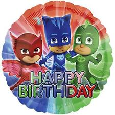"PALLONCINO PJ MASKS HAPPY BIRTHDAY TONDO MAXI Mylar 43 cm 17"" PARTY  VALVOLA"
