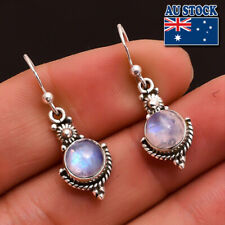 Vintage Boho 925 Silver Plated Rainbow Moonstone Dangly Hook Earrings