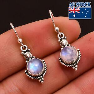 Vintage Boho 925 Silver Plated Rainbow Moonstone Dangly Hook Earrings