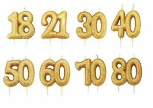 GOLD GLITTER  JOINT AGE NUMBER CANDLES HAPPY BIRTHDAY CAKE TOPPER CELEBRATION