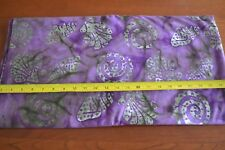 By 1/2 Yd, Green & Brown on Purple Quilting Cotton Batik, N1262