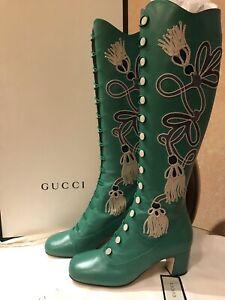 HOT! Gucci Amaya Embroidered Green Leather Boots EU 37.5/US 7-7.5 NIB 577230