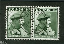Norway 1946, NK 345 Reconstr. pair Son Sørlandsbanen B. III 16-10-46 (Railw)