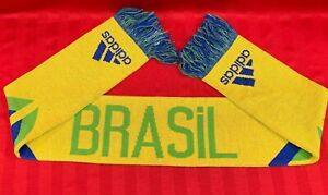Adidas Brasil National Soccer Football Team  Scarf 60×7″ Yellow Blue Acrylic