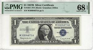 1957 B $1 SILVER CERTIFICATE NOTE FR.1621 WA BLOCK PMG SUPERB GEM UNC 68 EPQ