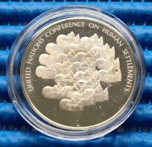 1976 United Nations Human Settlements Conference Commemorative Silver Medallion