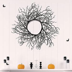 TURNMEON 15 Inch Halloween Wreath for Front Door Decorations, Glittered Black Sp