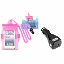 Hot Pink Waterproof Bag w/Armband Case Cover+DC Car Charger Kit For iPod Touch 4