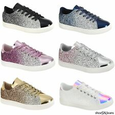 New Women Sequin Glitter Sneakers Athletic Tennis Walking Comfort Flat Shoes