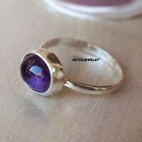 Amethyst Solid 925 Sterling Silver Band  Ring Meditation statement Ring sr008