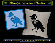 Primitive Stencil~Vintage~READY FOR SNOW CROW~Comical Crow Scarf Winter Hat