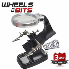 10 LED Light Up Helping Hand Magnifying Glass Soldering Jewellery Making Tools