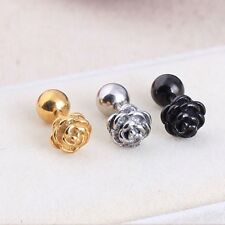2pc Rose flower Silver Black Gold titanium steel Men Women pierced stud earrings